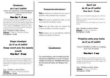Zuninous » du 5 au 9 juillet Camp céramique du 12 au 16 ... - ESCDD