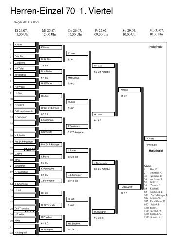 Herren-Einzel 70 1. Viertel - DSM-Tennis