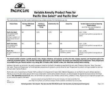 Product Fees Fact Sheet (One Select and One) - Pacific Life
