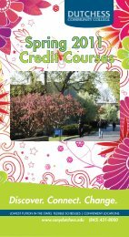 Spring 2011 Credit Courses - Dutchess Community College