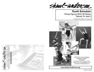 Youth Schedule - Shawl-Anderson Dance Center