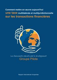 Rapport - Groupe pilote sur les financements innovants pour le ...