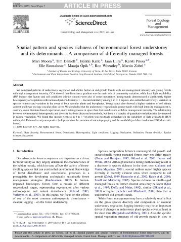 Spatial pattern and species richness of boreonemoral forest ...