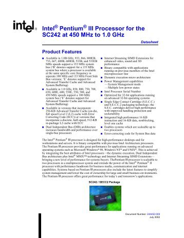 Intel Pentium III Processor for the SC242 at 450 MHz to 1.0 GHz