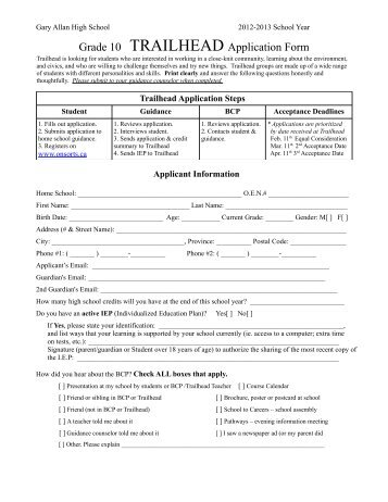 Grade 10 TRAILHEAD Application Form - Employer Registry