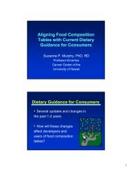 Aligning Food Composition Tables with Current Dietary Guidance ...