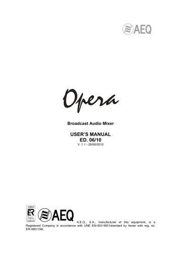 USER'S MANUAL ED. 06/10 - AEQ