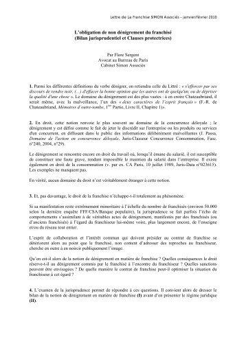 L'obligation de non dénigrement du franchisé ... - Simon Associés
