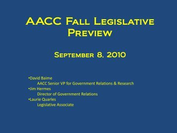 AACC Fall Legislative Preview - American Association of ...