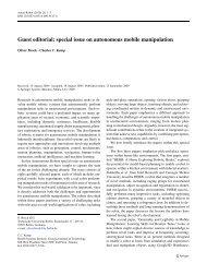 special issue on autonomous mobile manipulation - Robotics - TU ...