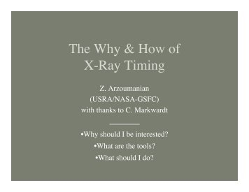 The Why & How of X-Ray Timing - HEASARC - NASA
