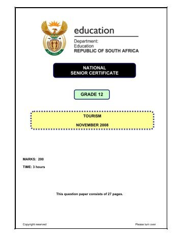 Tourism - Department of Basic Education