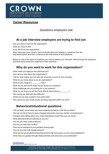 career resources questions employers ask at a job interview