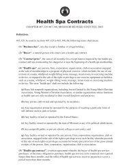 Health spa contracts law in Missouri - Missouri Attorney General