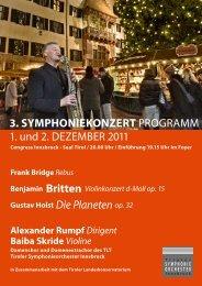 3. Symphoniekonzert - Tiroler Symphonie Orchester Innsbruck
