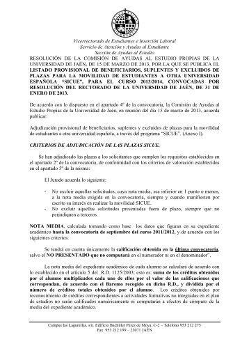 Listado Provisional de Beneficiarios, Suplentes y Excluidos 2013/2014