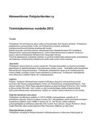 Hämeenlinnan Pohjola-Norden ry Toimintakertomus vuodelta 2012