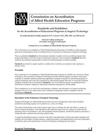 Commission on Accreditation of Allied Health Education ... - CAAHEP