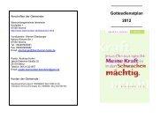Gottesdienstplan 2012