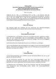 Ordnung über besondere Zugangsvoraussetzungen und die ...