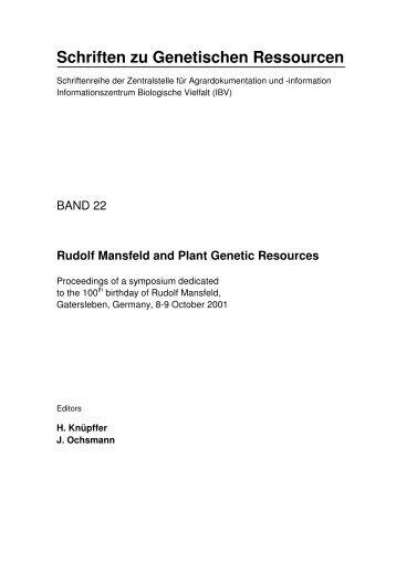 Schriften zu Genetischen Ressourcen - Genres