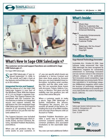 What's New In Sage CRM SalesLogix v7 - Simplesoft Solutions, Inc