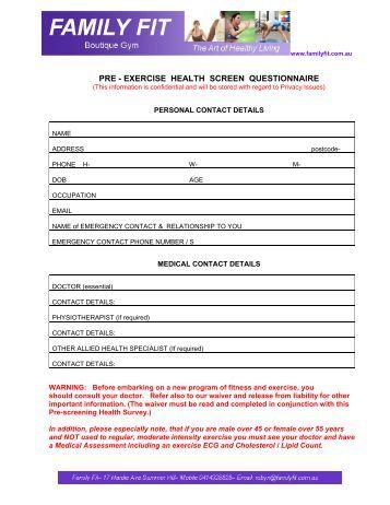 pre activity health screening essay