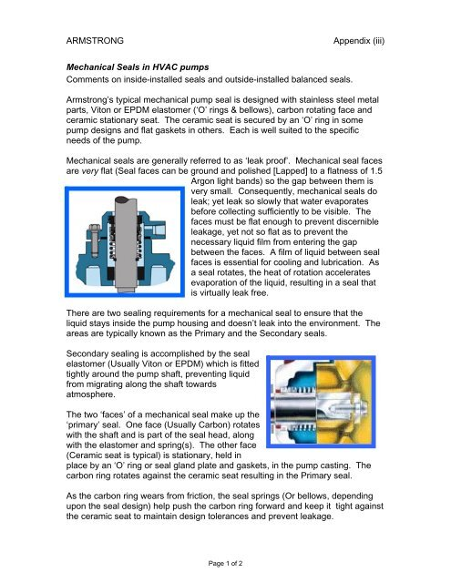 ARMSTRONG Appendix (iii) Mechanical Seals in HVAC pumps