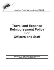 Travel & Expenses Reimbursement Policy for Officers and ... - APWU