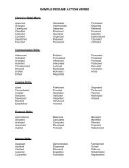 Sample Resume Action Verbs