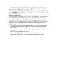 Marking Criteria for Geomorphological Field Guide - Assignment 2