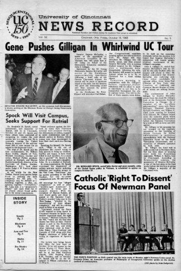 University of Cincinnati News Record. Friday, October 18, 1968. Vol ...