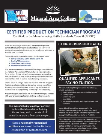 certified production technician program - Mineral Area College
