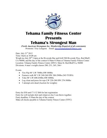Tehama Family Fitness Center Presents Tehama's Strongest Man