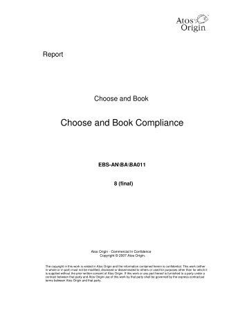 Choose and Book Compliance Document (PDF, 850Kb)