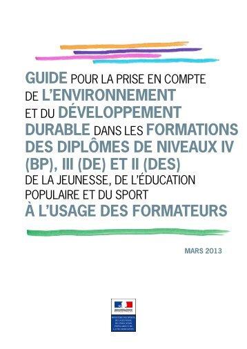 guide pour l'intégration du développement durable dans les ... - drjscs