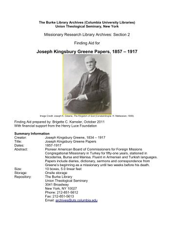 Joseph Kingsbury Greene Papers - Columbia University Libraries