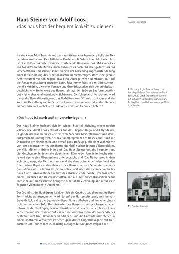 Haus Steiner von Adolf Loos. »das haus hat der bequemlichkeit zu ...