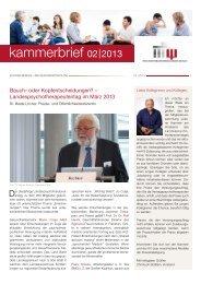 Kammerbrief 2/2013 - Kammer für Psychologische ...