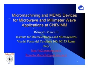 Micromachining and MEMS Devices for Microwave and Millimeter ...