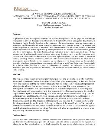 el proceso de adaptación a un cambio de administración en la ...