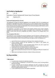 Job Profile for Headteacher - The TES