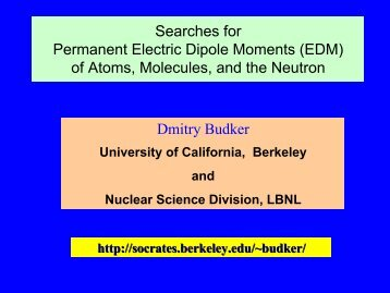 Searches for Permanent Electric Dipole Moments (EDM) of Atoms ...