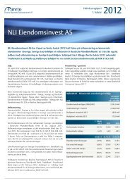 NLI Eiendomsinvest AS - Pareto Project Finance