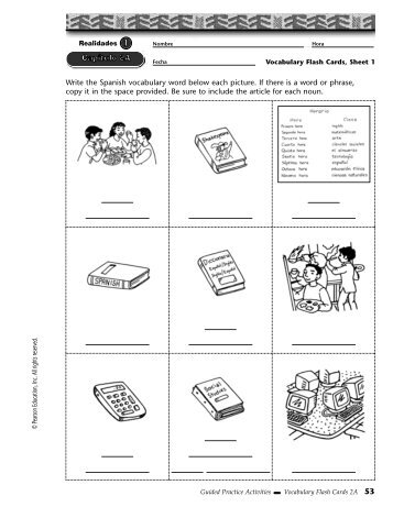 Write the Spanish vocabulary word below each picture. If ... - CIBACS