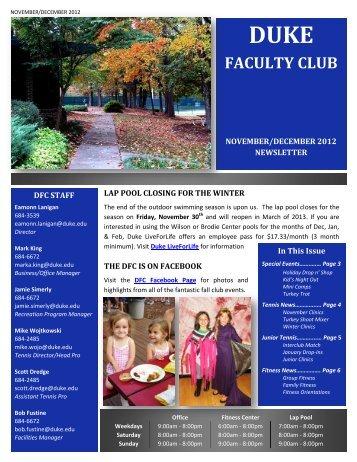 November/December 2012 - Duke Faculty Club