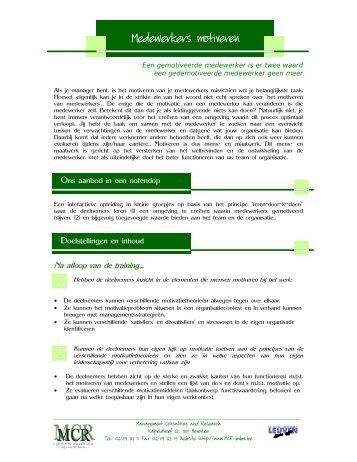 Brochure 'Motiveren van medewerkers' - Mcr Bvba