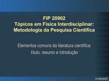 FIP 20902 Tópicos em Física Interdisciplinar - Chasqueweb.ufrgs.br