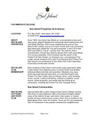 Sea Island Properties At-A-Glance Page 1 of 6 12/2010