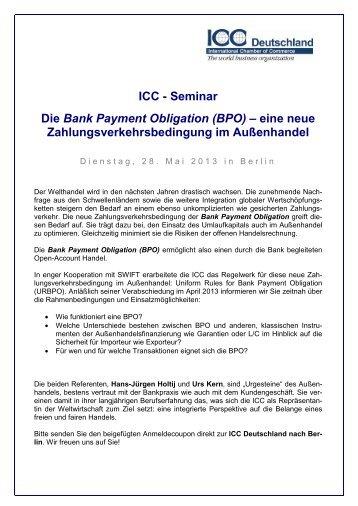 ICC - Seminar Die Bank Payment Obligation ... - ICC Deutschland